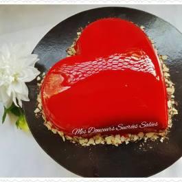 coeur bombé glacage miroir rouge
